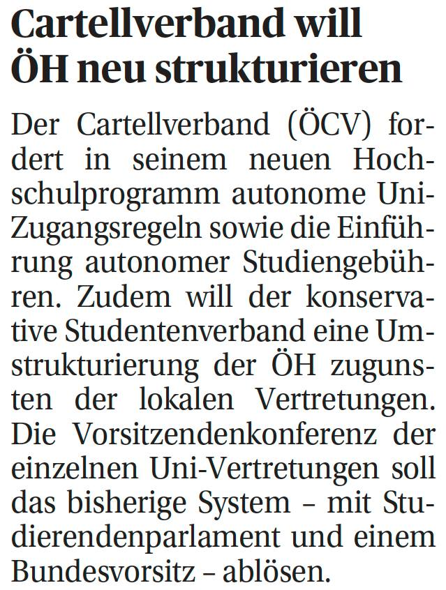 Bericht über das Hochschulprogramm des ÖCV in der Presse vom 23.10.2013